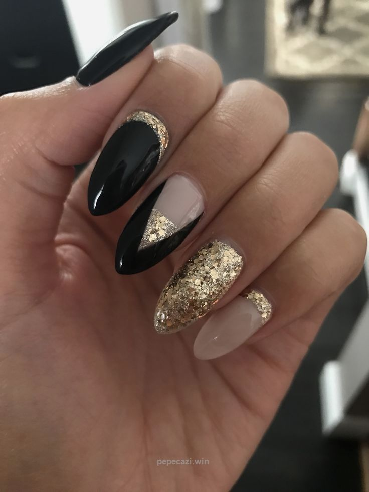 Black and gold coffin nails … | Gold | Pinterest | Coffin nails