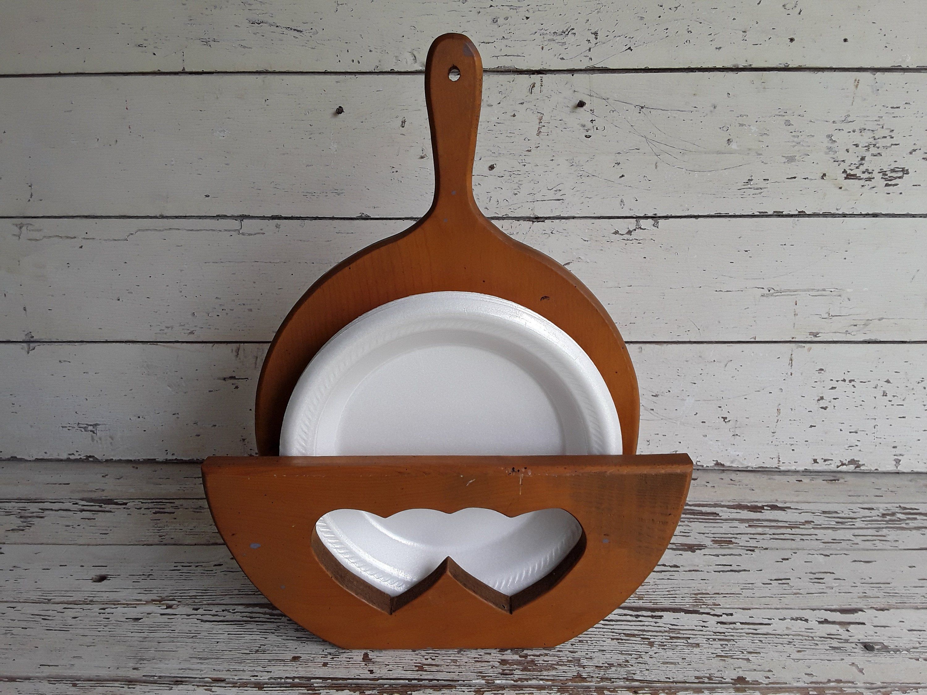 Vintage Wooden Paper Plate Holder Country Style Decor Wooden Wall Hanger Or Shelf Heart Design Iron Skillet Shape Wooden Plates Paper Plate Holders Wooden