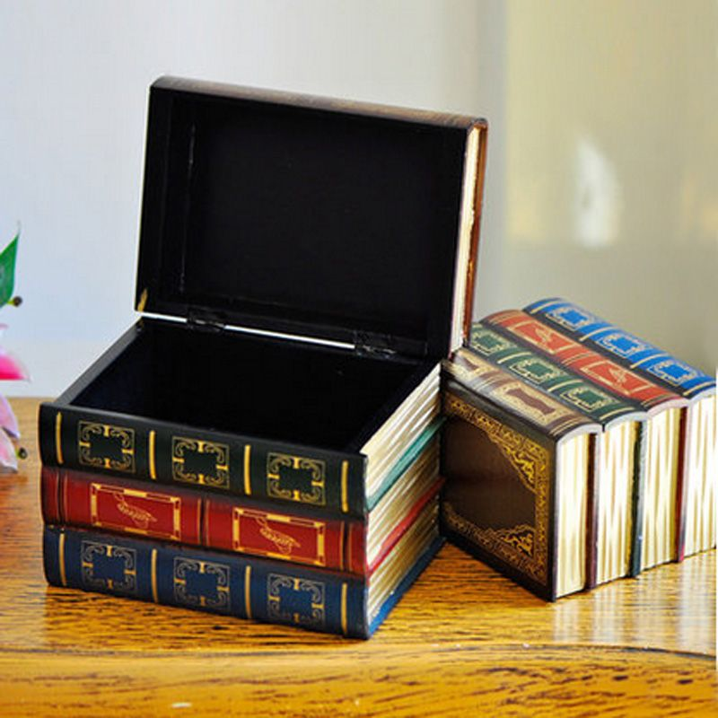 Decorative Fake Book Boxes Set Of 2 Antique Wood Decorative Book Storage Boxes Mini Cases