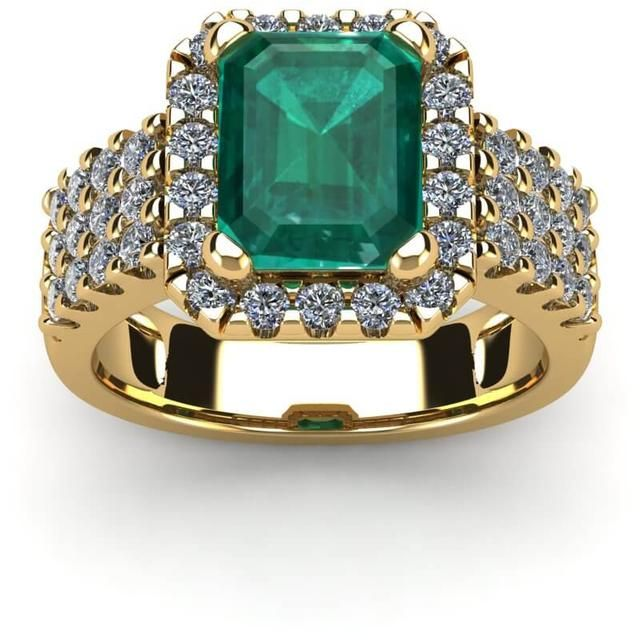 FireFacet 3 1/9 CT TW Octagon-Cut Emerald and Diamond 14K Gold 3-Row Halo Ring