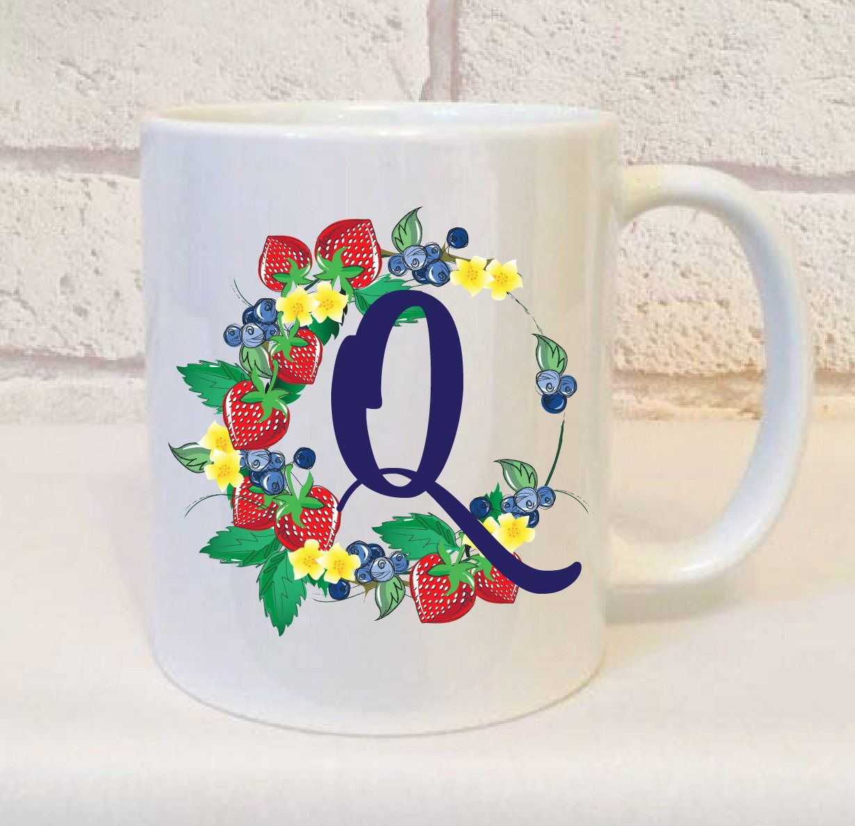 Initial Q Gift, Letter Q Gift, Initial Name Gift, Personalised Initial Mug,