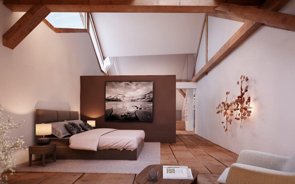Glasbilder Schlafzimmer ~ Rustikale schlafzimmer bilder masterbedroom im dachgeschoss