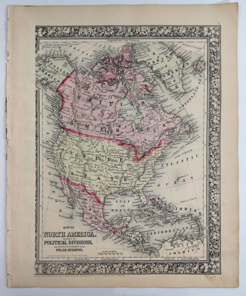1860 Mitchell s Huge Hand Tinted Colored Map North America Canada