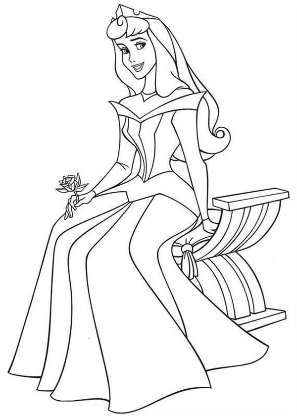Princess Aurora Sitting On Bench In Sleeping Beauty Coloring Page Color Sleeping Beauty Coloring Pages Disney Princess Colors Disney Princess Coloring Pages
