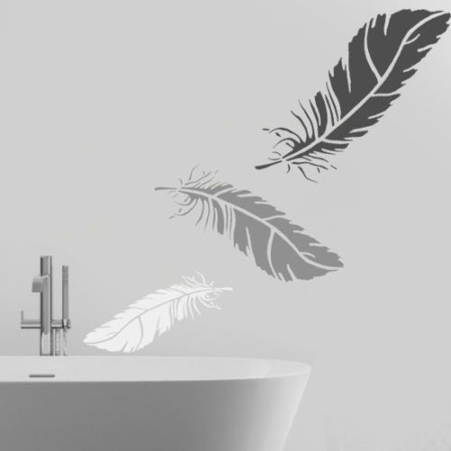 Details About Feather Stencil Wall Home Décor Decorating Art