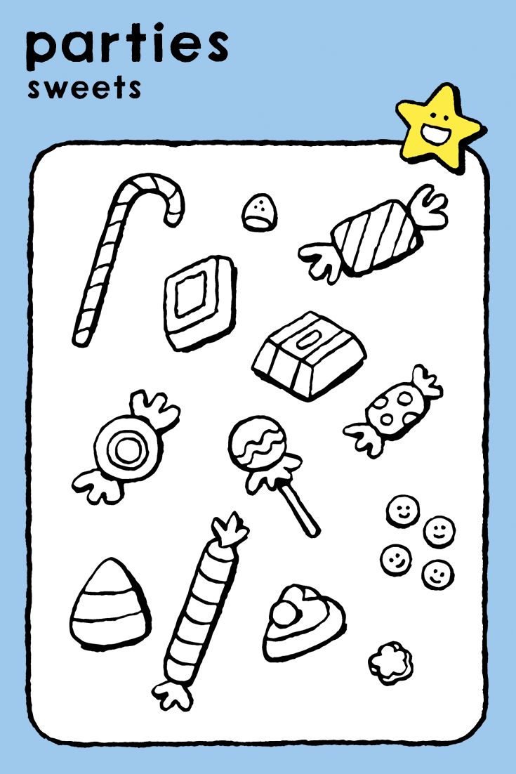 sweets, coloring pages, kids, parties, food, cake and ice ...