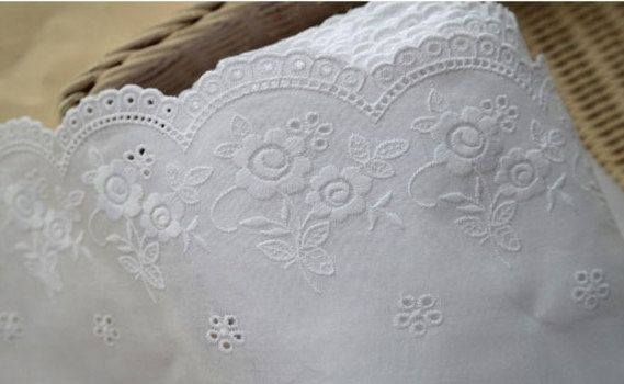 wide embroidered cotton lace by the yard width 15cm by cottonholic