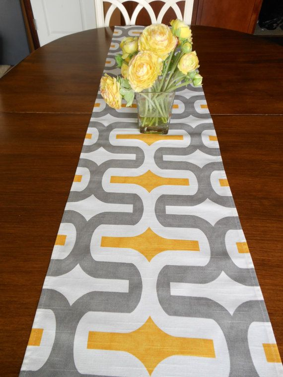 TABLE RUNNER 12 X 48 Gray Yellow Modern By SimplyTableRunners