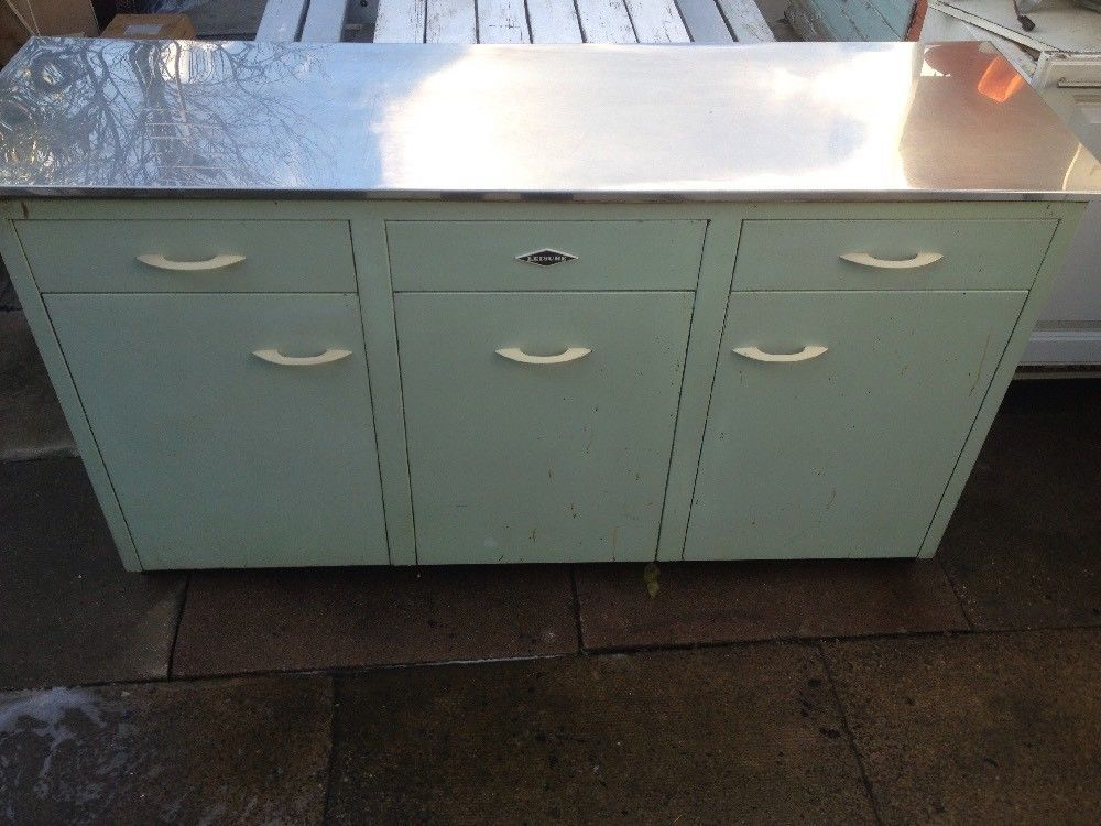 Vintage Retro 50s 60s Leisure Metal Kitchen Cabinet 3cupboard 2Draws  Stainless T