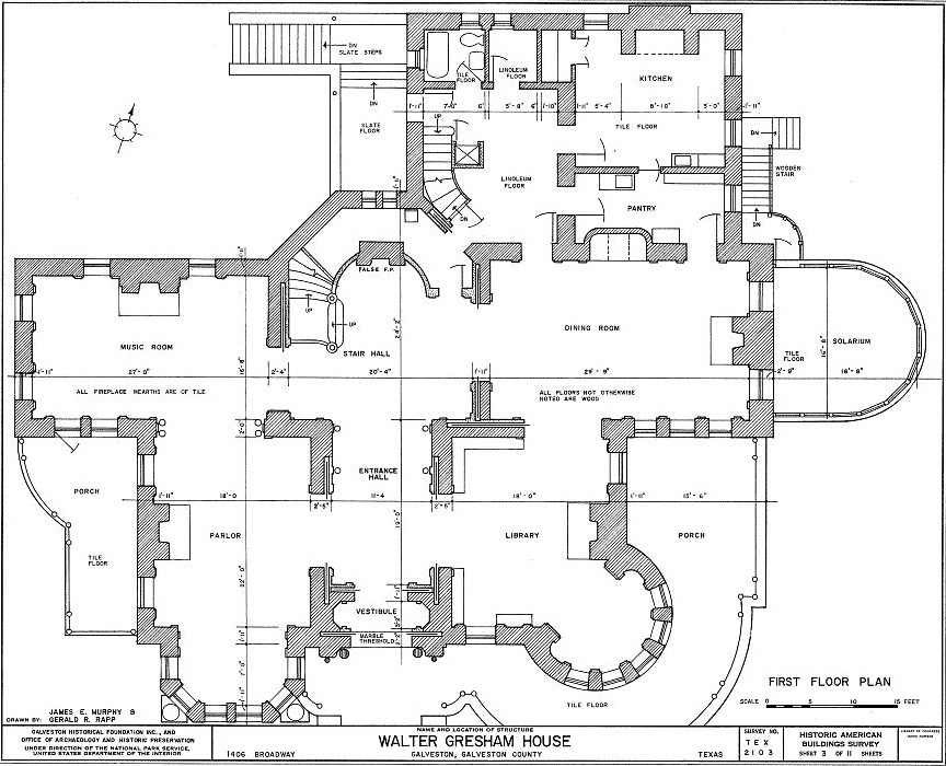 bishop's place - galveston, texas - first floor plan | gilded age