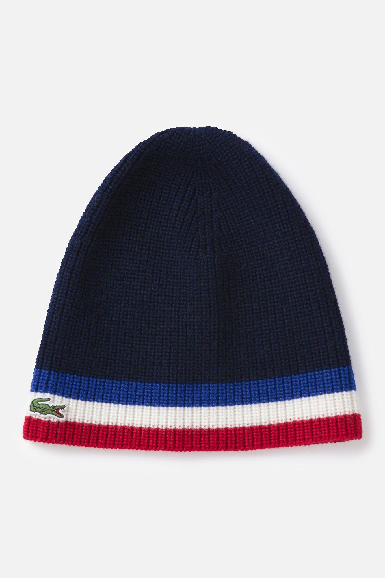 60362090727 Lacoste Wool Tri-Color Stripe Beanie