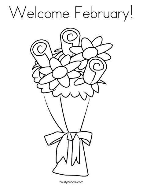 Welcome February Coloring Page - TwistyNoodle.com | Coloring Pages ...