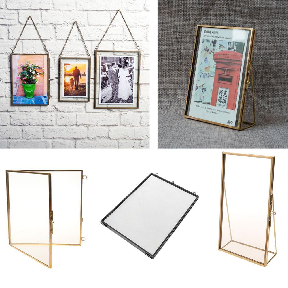 Retro Style Glass Hanging Free Stand Picture Photo Frame Portrait Picture Display Wall Portrait Frame Hanging Glass Frames