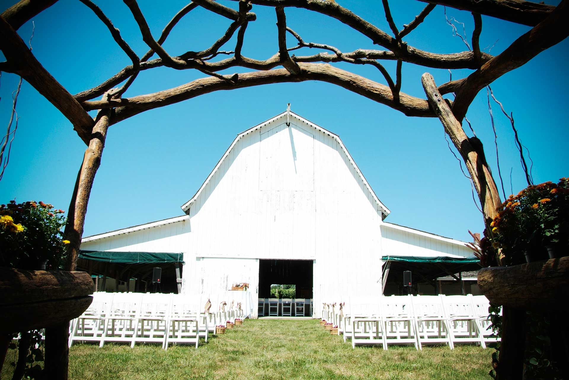 Historic Barns Set For An Outdoor Wedding
