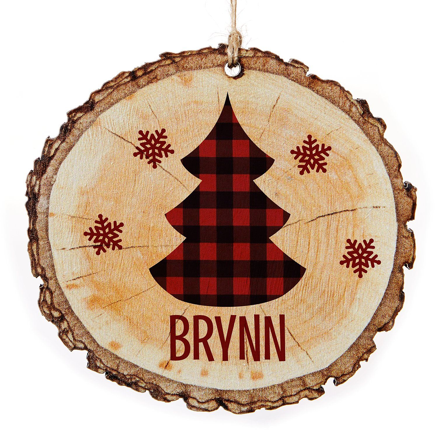 Perfectly Plaid Rustic Wooden Ornament Christmas Tree