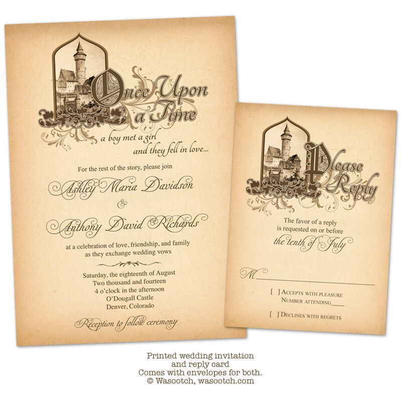 Fairytale ce Upon a Time Me val Castle Wedding Invitation and