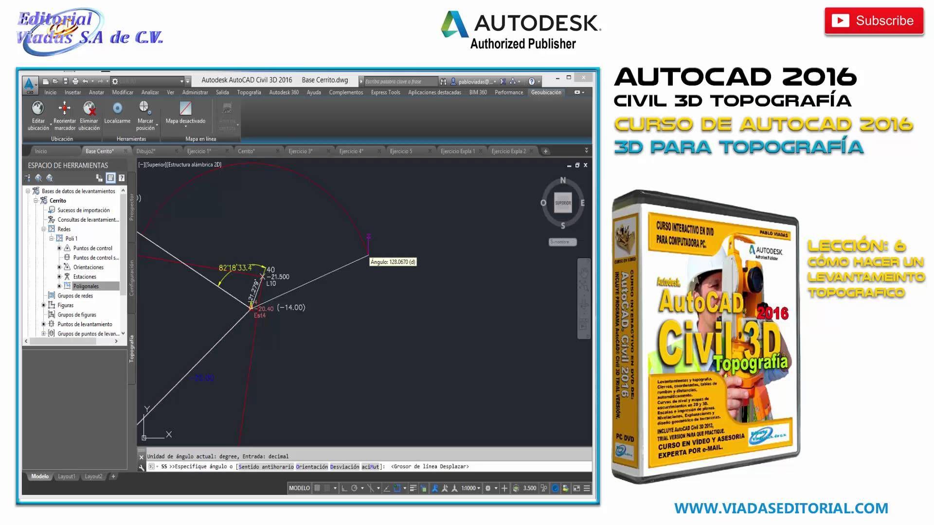 Autocad Civil 3d 2016 Curso Completo Tutorial Topografía Lección 6 Autocad Autocad 2016 Map Screenshot