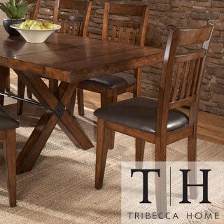 Tribecca Home Inverness Warm Oak Cushioned Mission Dining Chair