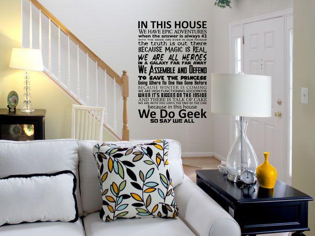 Geek Wall Art in this house - we do geek wall art sticker. from wallartcompany