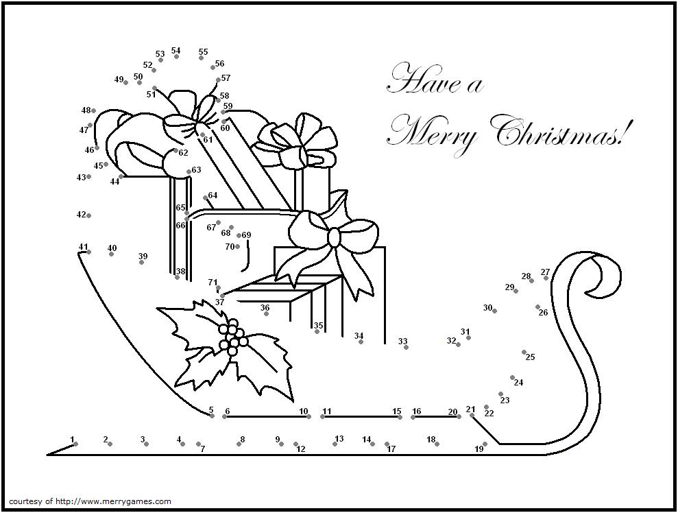 christmas sleigh dot to dot   Free christmas printables ...