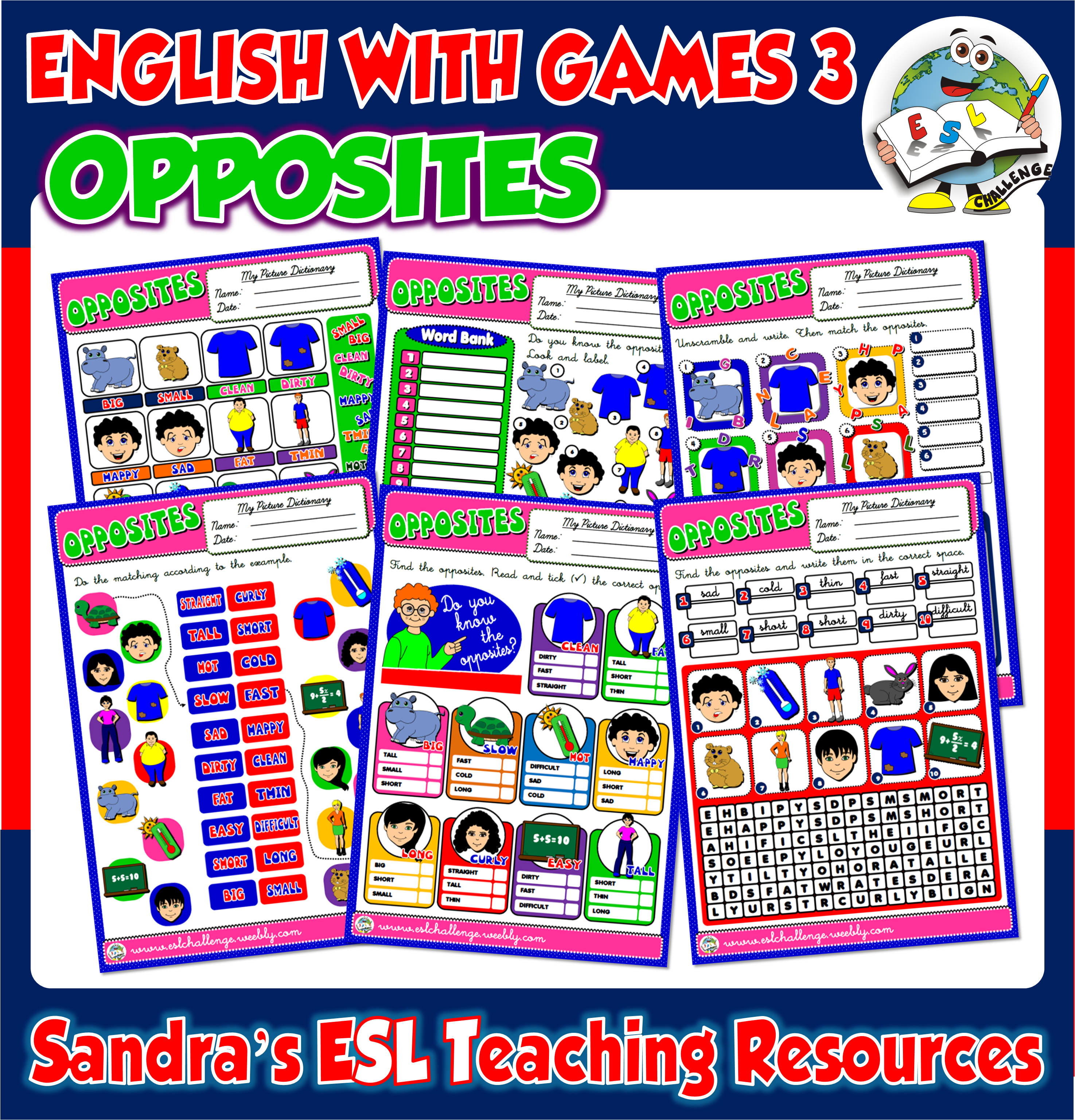 Opposites Worksheets Available In English With Games 3