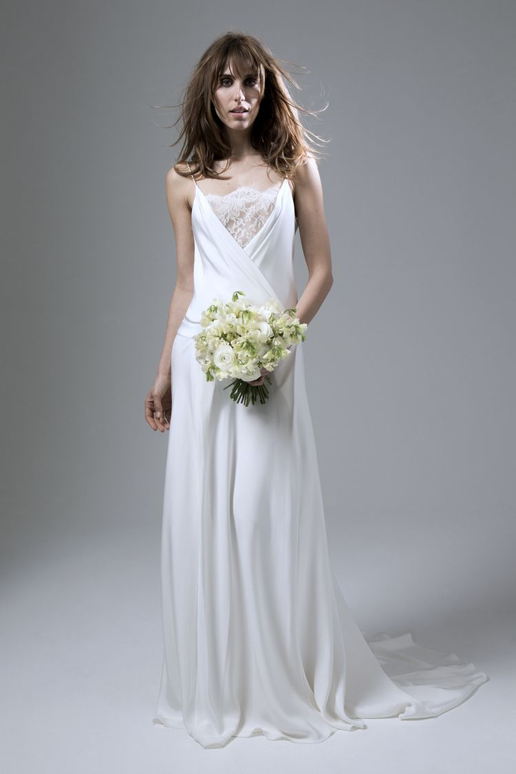 Cherry Silk Crepe Dropped Waist Backless Wedding Dress by Halfpenny ...