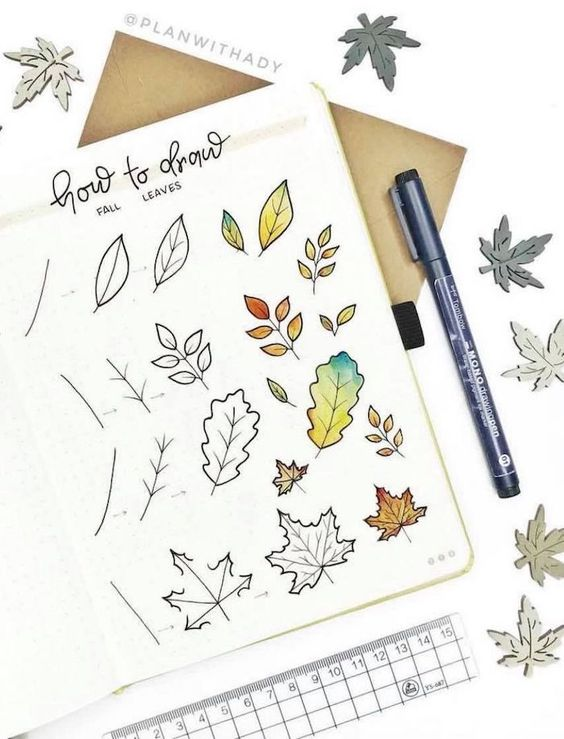 How To Draw Fall Leaves Bullet Journal Doodles Leaves Doodle Bullet Journal Ideas Pages
