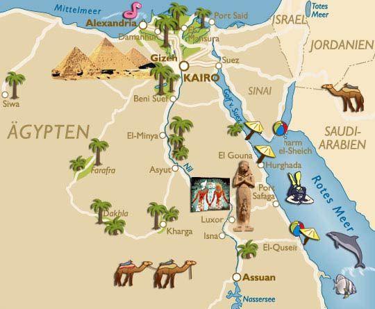 Karten Von Agypten Mit Strassenkarte Und Sehenswurdigkeiten