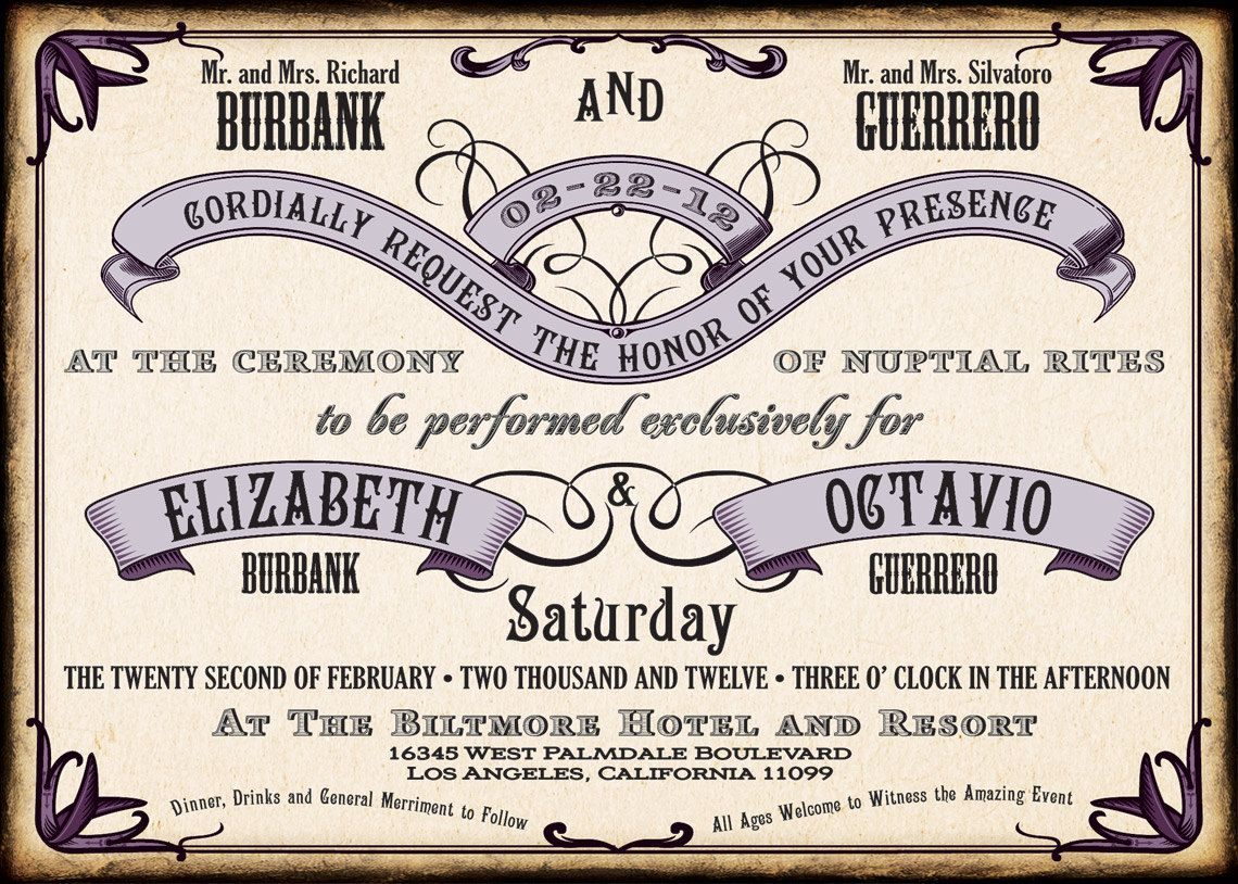 Vintage 1940 S Style Wedding Invitation Suite Change Colors Free