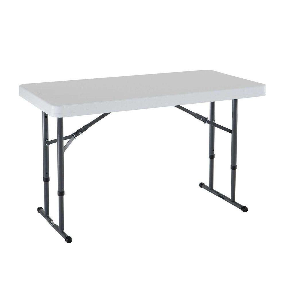 Adjustable Height Lifetime 4 Foot Portable Folding Craft Table Utility New