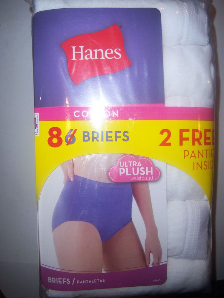 358c9129b889 8 PAIR WOMENS HANES 100% WHITE COTTON BRIEFS SIZE 9 NEW INTIMATES PANTIES # Hanes #Briefs #Everyday