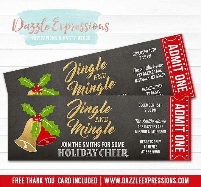 Printable Jingle and Mingle Holiday Party Ticket Invitation