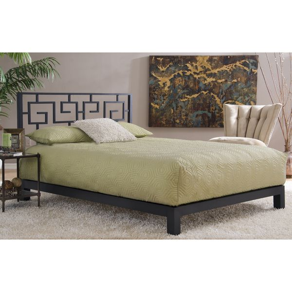 Review Motif Design Greek Key Metal Headboard and Aura Deluxe Platform Bed Black Trending - Latest black platform bed Idea