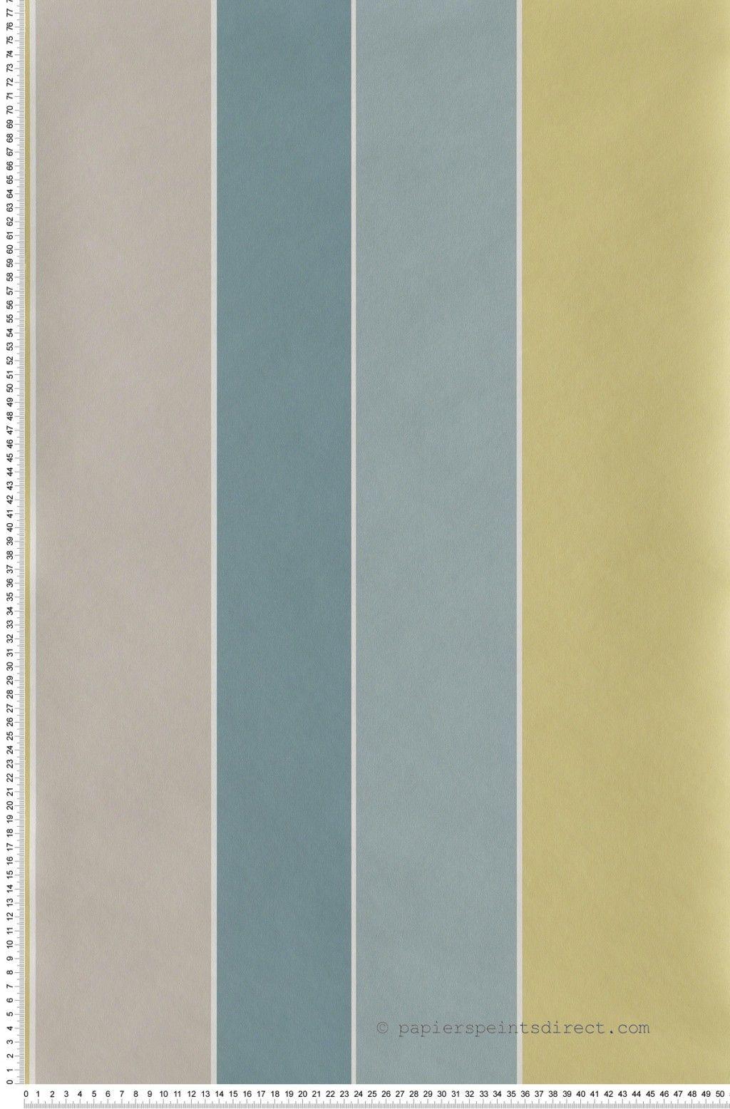Papier Peint Rayures Larges Irregulieres Bleu Jaune Et Gri Lutece