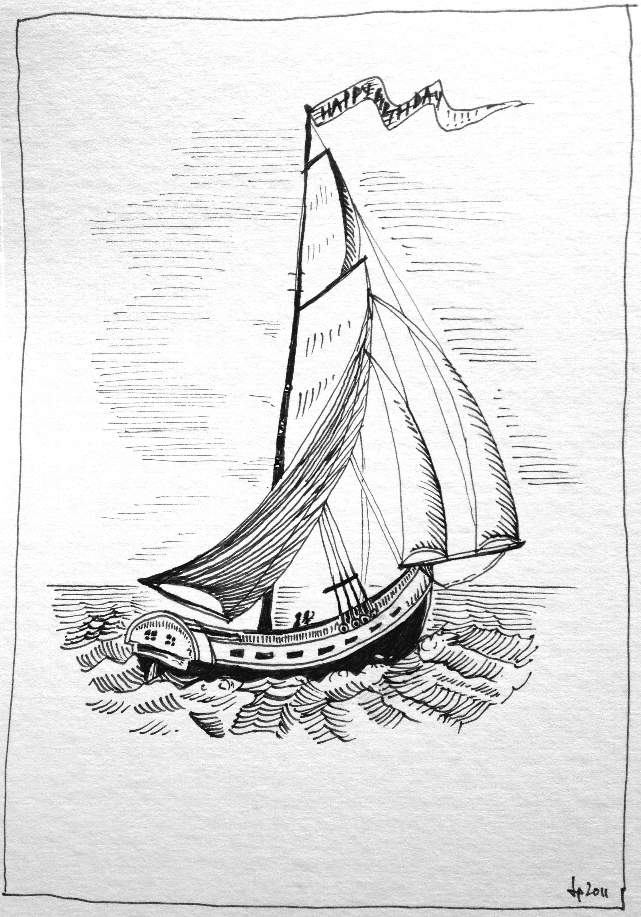 Sailboat pen & ink Ink drawings Pinterest
