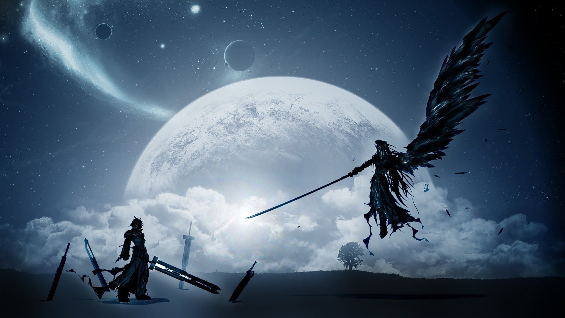 Final Fantasy 7 S Cloud Strife And Sephiroth Digital Wallpaper
