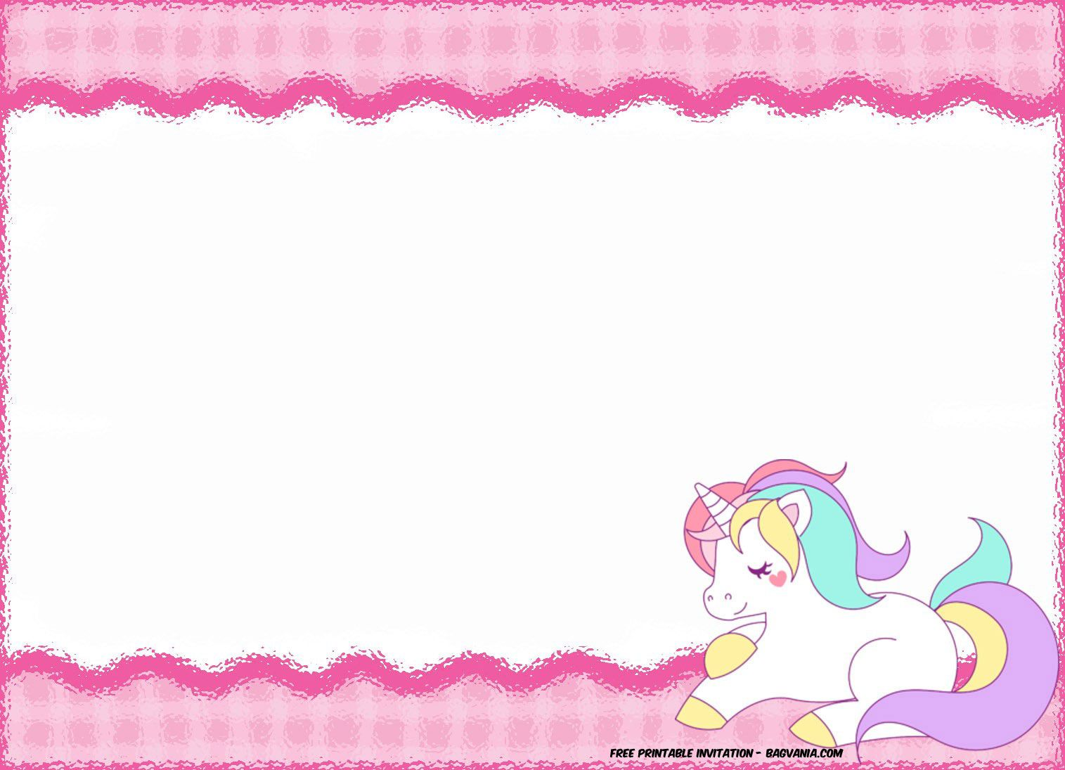 Download FREE Printable Golden Unicorn Birthday Invitation Template