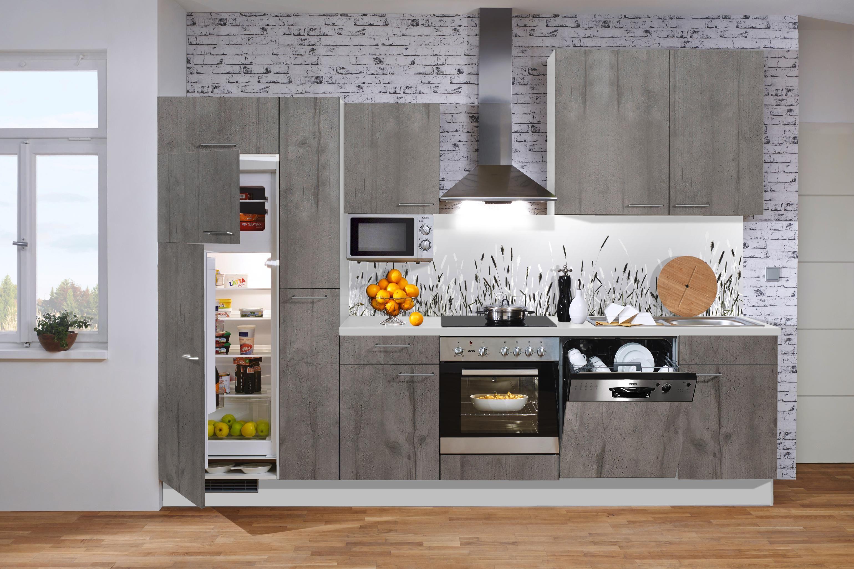 Küchenblock im eleganten Grau leckere Gerichte stilvoll zubereitet