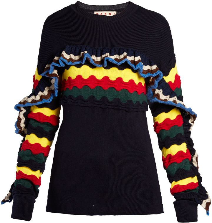 Marni dresses up its navy cotton-blend crew-neck sweater with frilly  accents and