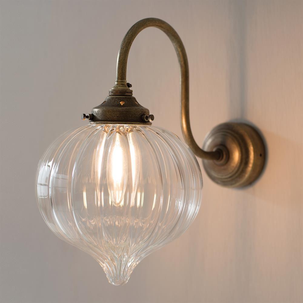 Mia Wall Light Fluted Glass Period Modern Lighting Wall Lights Brass Wall Light Kitchen Wall Lights