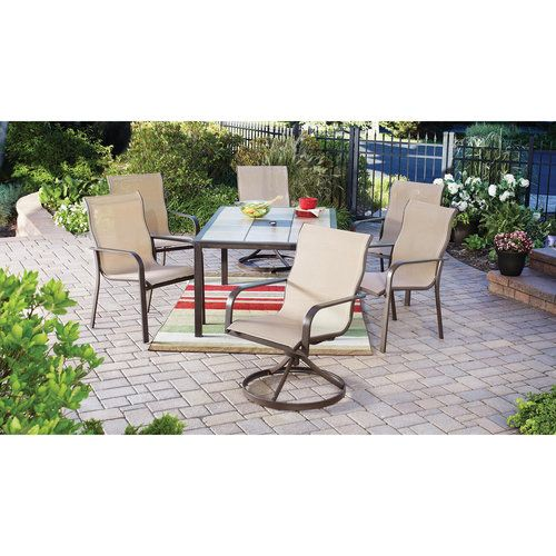 mainstays sling 7 piece tile top outdoor dining set beige table