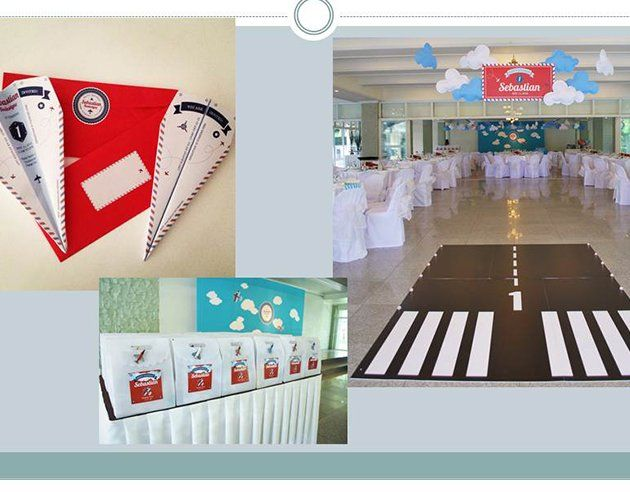 Aviator A custommade runway welcomes guests into the party venue