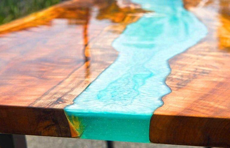 Anleitung: Epoxidharz Tisch aus Holz selber machen | Tisch