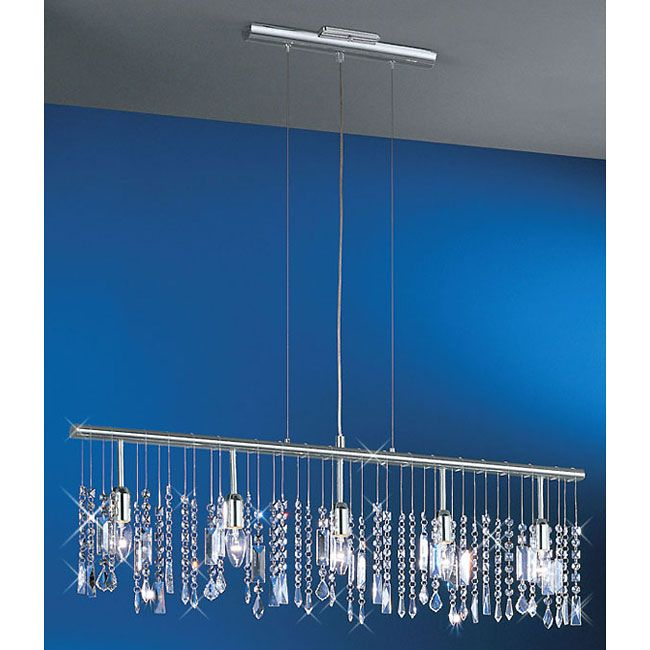 Contemporary Clear Crystal Chandelier The Fixture Features A 38 Inch Long Bar Pendant
