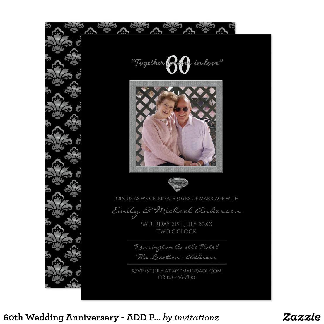 60th Wedding Anniversary Add Photo Invitations Gift Ideas