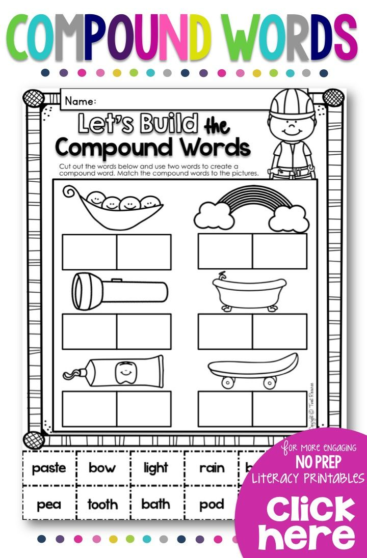 Compound Words Bundle With Color Posters Worksheets Answer Keys Compound Words Compound Words Worksheets Sight Word Worksheets [ 1096 x 720 Pixel ]