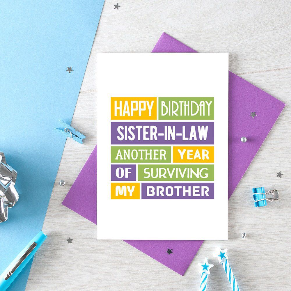 Funny Sister In Law Birthday Card Sister In Law Card Wife Etsy Sister In Law Birthday Birthday Wishes For Sister Sister In Law
