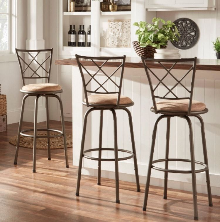 Swivel Stool With Backrest Kitchen Island Back Counter Set 3