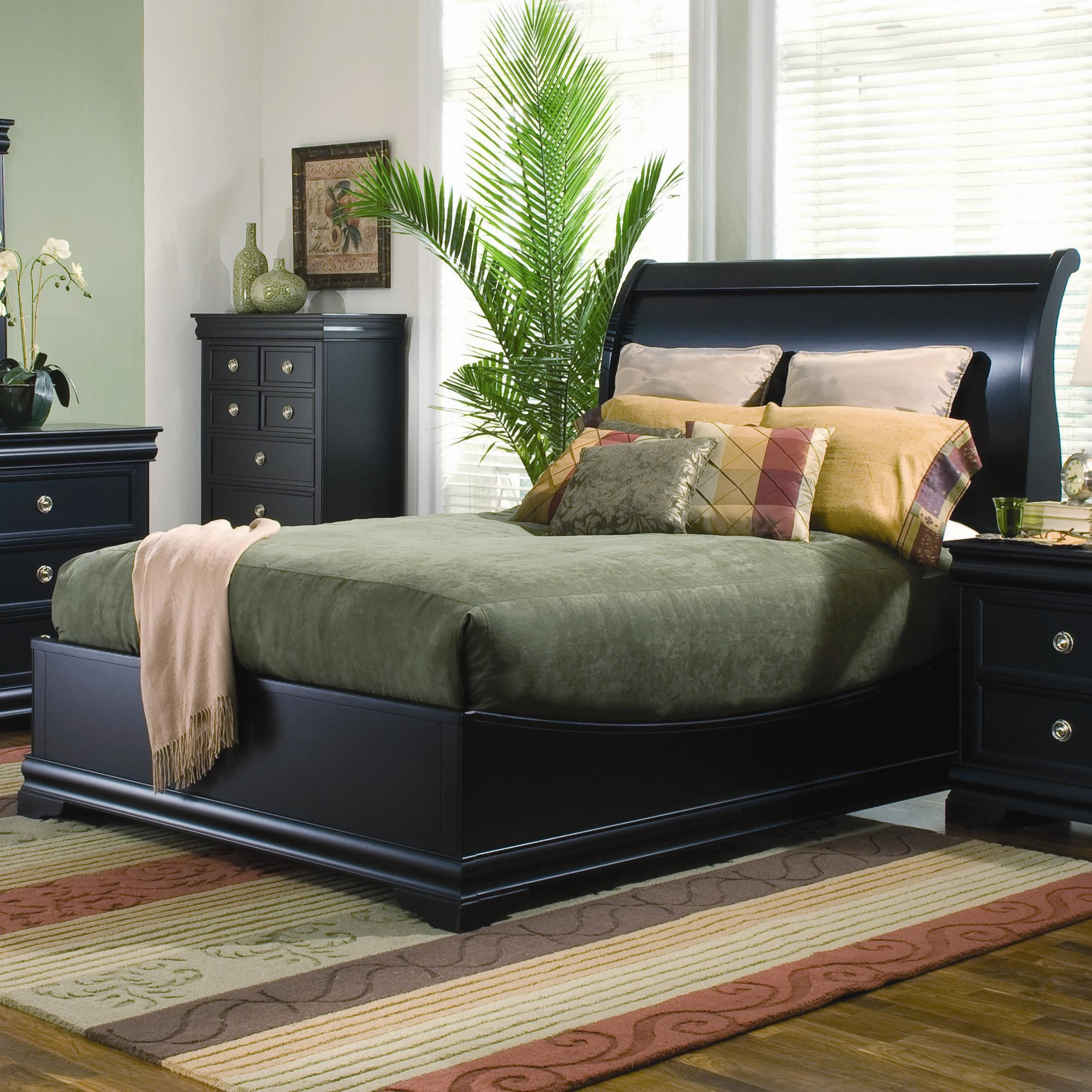 swept back with low profile footboard an updated sleigh bed in