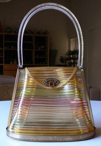 Vintage 1950s PLASTIC vinyl PURSE bag with LUCITE RHINESTONES handle FAB no rsrv